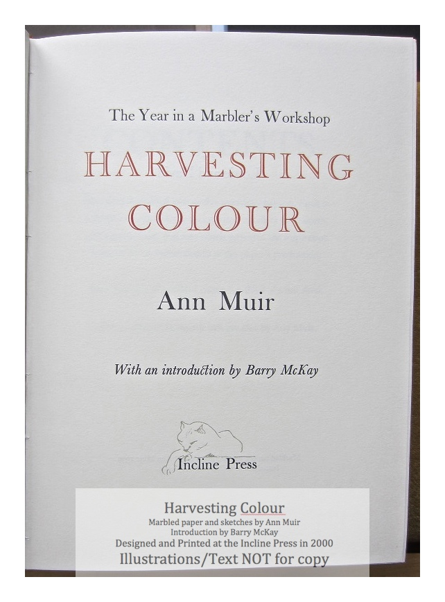 Harvesting Colour, Incline Press, Title Page