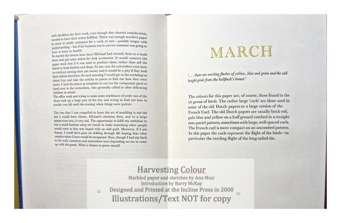 Harvesting Colour, Incline Press, Sample Text