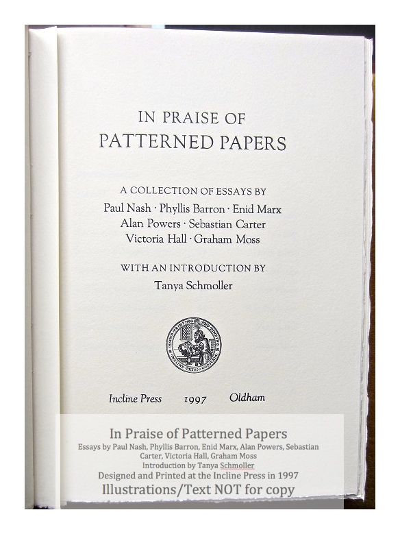 In Praise of Patterned Papers, Incline Press, Title Page