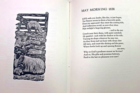 'A Thrill of Pleasure', Poetry by William Wordsworth, Wood Engravings by Rosemary Roberts, Zerkall paper. A selection of poetry, taken from an early edition of the complete works, concentrating on the significance of the natural world as Wordsworth saw it. £50 post free in UK, p&p £4 overseas. (Celtic Cross Press).