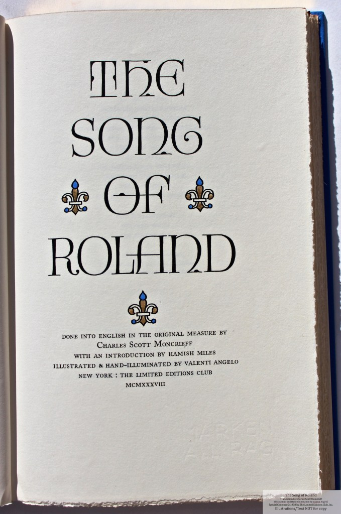 The Song of Roland, Limited Editions Club, Cover Page