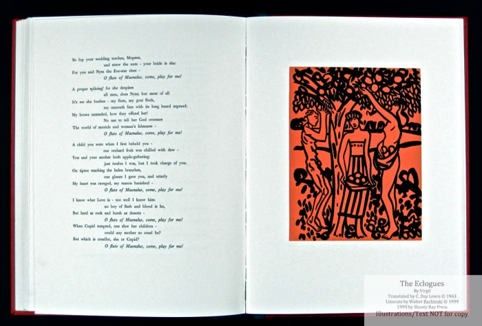 Eclogues, Shanty Bay Press, Sample Linocut #9 and Text