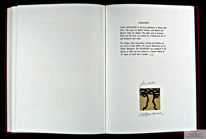 Eclogues, Shanty Bay Press, Colophon