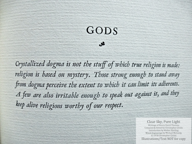 Clear Sky, Pure Light, The Penmaen Press, Introduction page by C. Childs for chapter 'Gods'