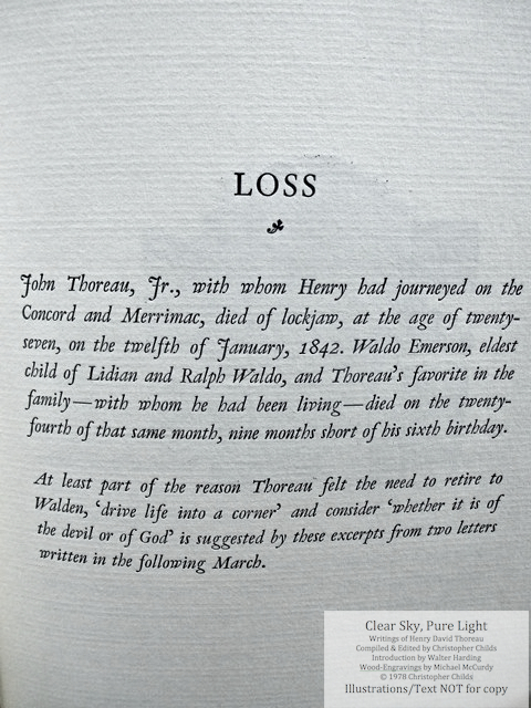 Clear Sky, Pure Light, The Penmaen Press, Introduction page for chapter 'Loss'