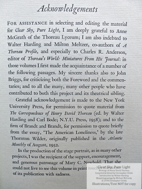 Clear Sky, Pure Light, The Penmaen Press, Acknowledgements