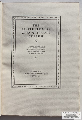 The Little Flowers of Saint Francis of Assisi, Limited Editions Club, Title Page