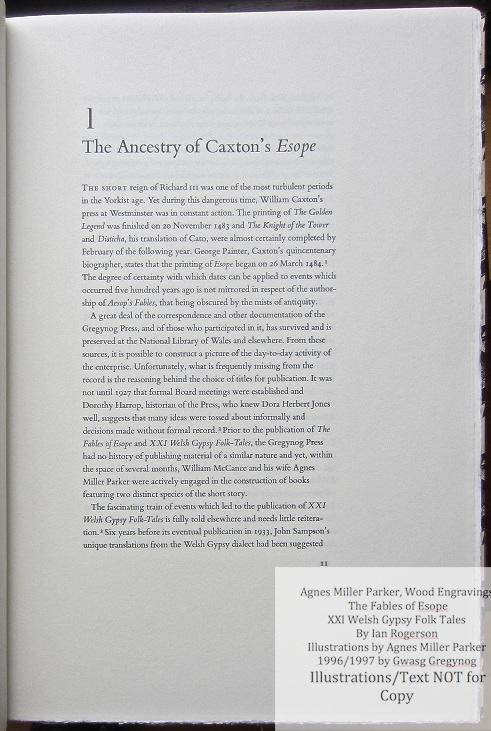 Agnes Miller Parker Wood-Engravings (Esope), Gregynog Press, Sample Text #1