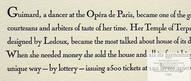 Paris, Peter Koch Printers, Macro of Text