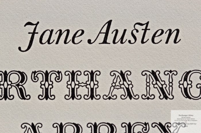 Northanger Abbey, Limited Editions Club, Macro of Title Page