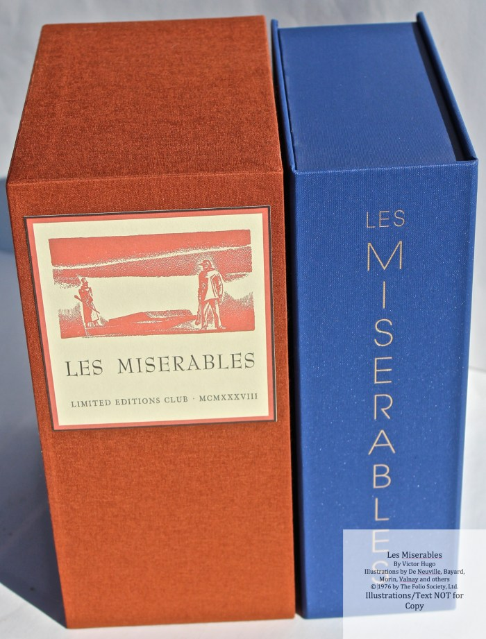Les Miserables, Side by Side Slipcases, Limited Editions Club (custom case) and The Folio Society Limited Edition