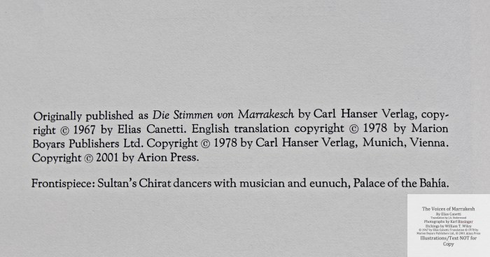 The Voices of Marrakesh, Arion Press, Copyright
