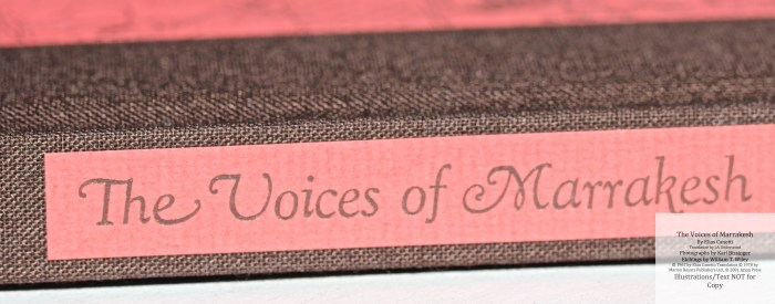 The Voices of Marrakesh, Arion Press, Macro of Spine