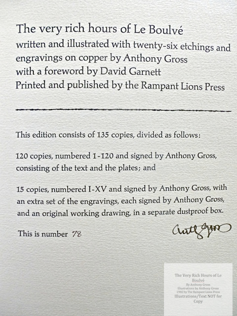 The Very Rich Hours of Le Boulvé, Rampant Lions Press, Colophon