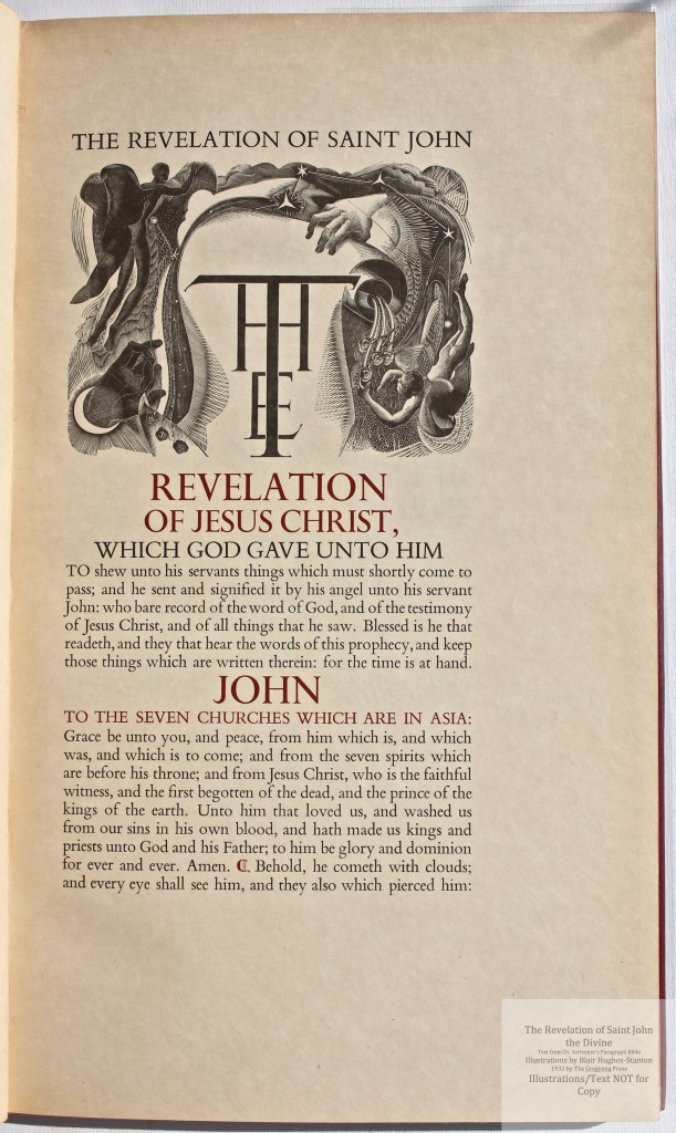 The Revelation of Saint John the Divine, Gregynog Press, Sample Illustration #1 with Text