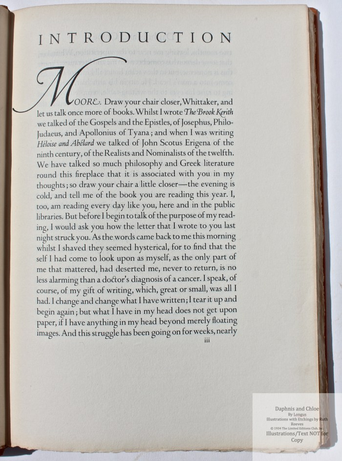 Daphnis and Chloe, Limited Editions Club, Sample Text Page #1 (Introduction)