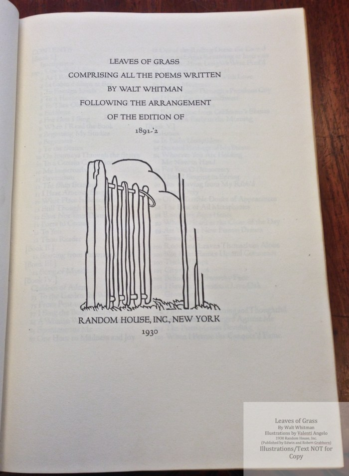 Leaves of Grass, Random House/Grabhorn, Title Page