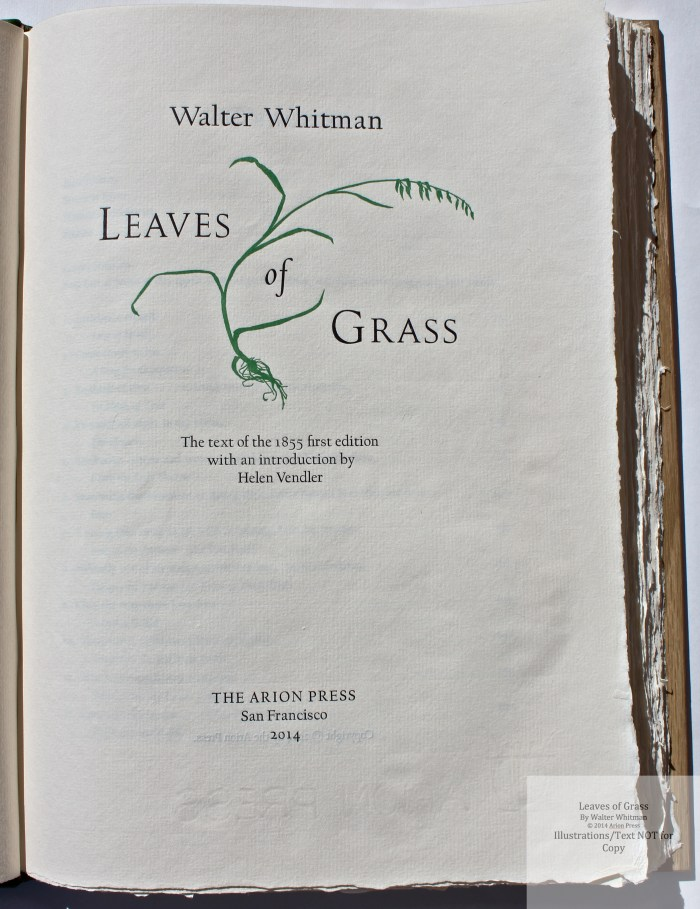 Leaves of Grass, Arion Press, Title Page