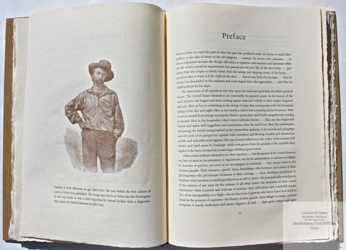 Leaves of Grass, Arion Press, Engraving of Whitman and Preface