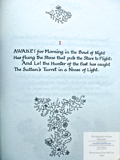The Rubáiyát of Omar Khayyám. A Personal Selection From the Five Editions of Edward FitzGerald by Cecile E. Mactaggart, Curwen Press, Opening page, first quatrain