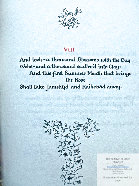 The Rubáiyát of Omar Khayyám. A Personal Selection From the Five Editions of Edward FitzGerald by Cecile E. Mactaggart, Curwen Press, Sample text page with calligraphy