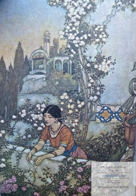 The Rubáiyát of Omar Khayyám. A Personal Selection From the Five Editions of Edward FitzGerald by Cecile E. Mactaggart, Curwen Press, Sample Dulac illustration #3