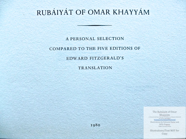 The Rubáiyát of Omar Khayyám. A Personal Selection From the Five Editions of Edward FitzGerald by Cecile E. Mactaggart, Curwen Press, Title Page - Volume Two