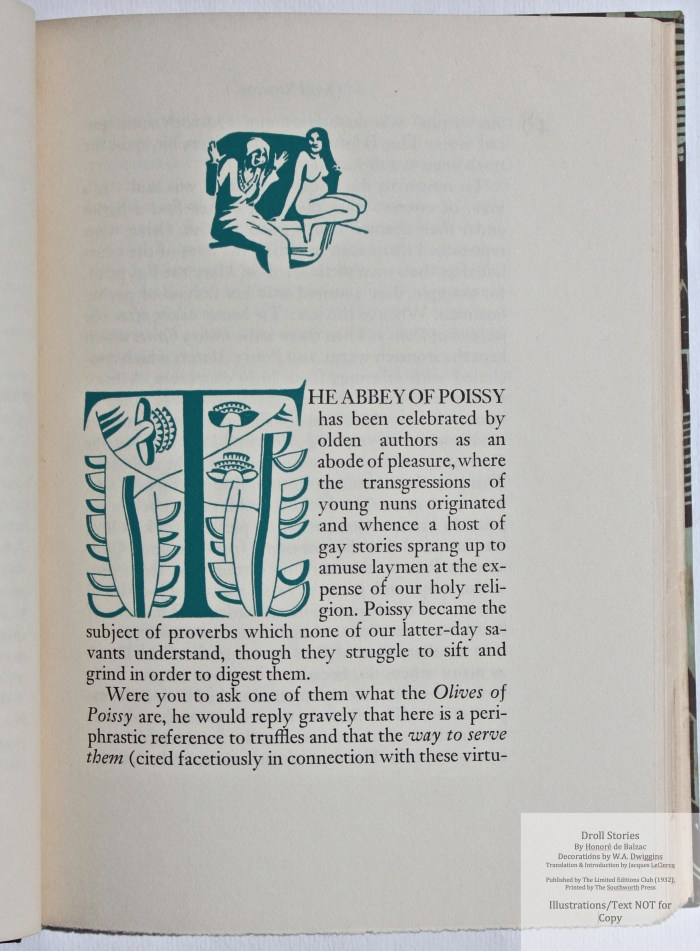 Droll Stories, Limited Editions Club, Sample Decoration with Text #4
