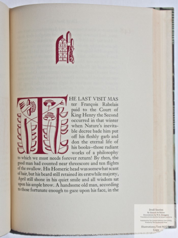 Droll Stories, Limited Editions Club, Sample Decoration with Text #5