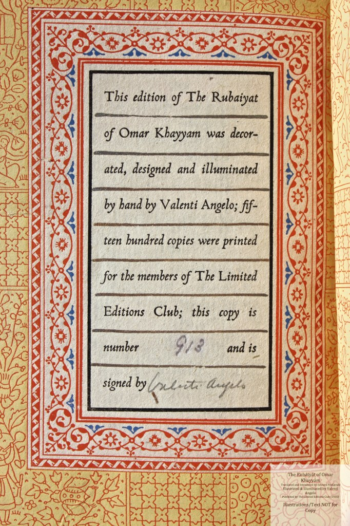 The Rubáiyát of Omar Khayyám, Limited Editions Club, Macro of The Rubáiyát of Omar Khayyám, Limited Editions Club, Colophon