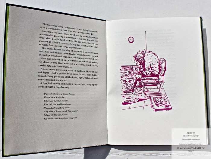 2BR02B, Sharp Teeth Press, Sample Illustration #1 with text