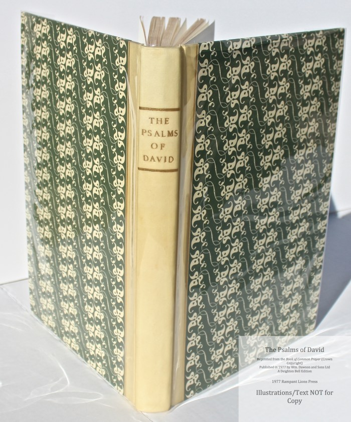 The Psalms of David, Rampant Lions Press, Spine and Covers