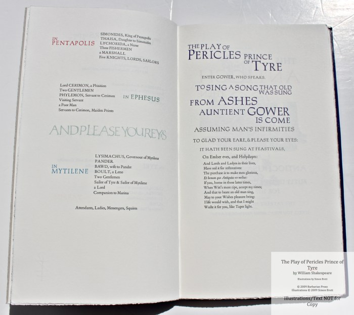 Pericles Prince of Tyre, Barbarian Press, sass
