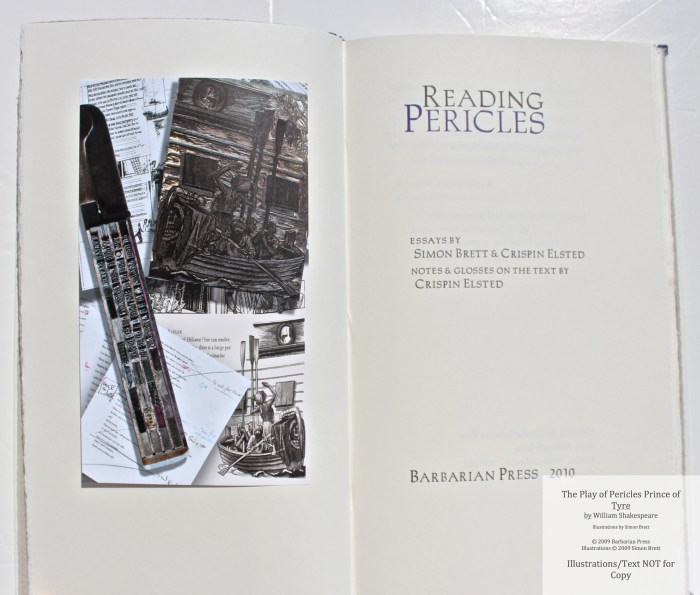 Pericles Prince of Tyre, Barbarian Press, Title Page and Frontispiece of Companion Volume