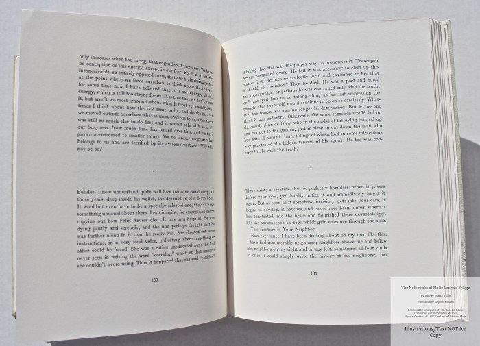The Notebooks of Malte Laurids Brigge, by Rainer Maria Rilke, Limited Editions Club, Sample Text #3