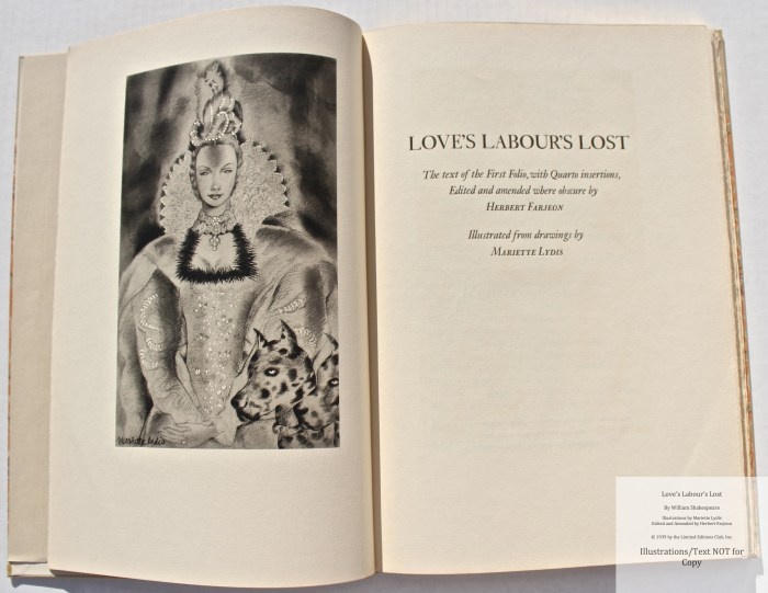 Love's Labour's Lost, Limited Editions Club, Frontispiece and Title Page