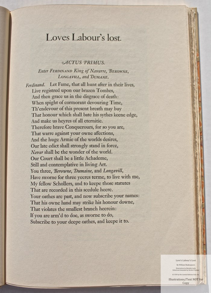 Love's Labour's Lost, Limited Editions Club, Sample Text #1