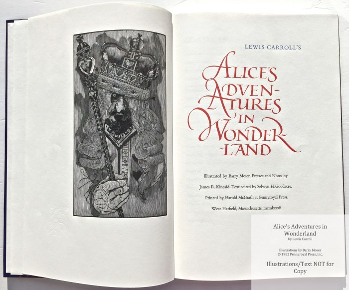 Alice's Adventures in Wonderland, Pennyroyal Press, Frontispiece and Title Page