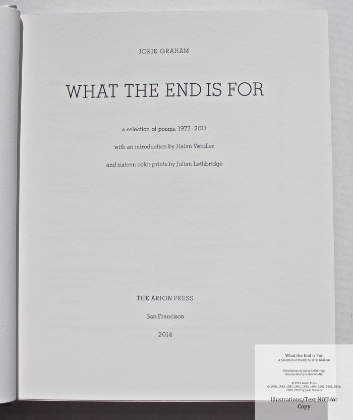 What the End is For, Arion Press, Title Page