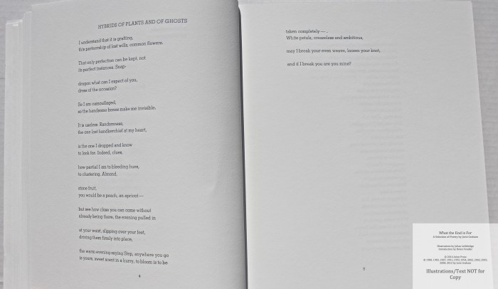 What the End is For, Arion Press, Sample Text #2