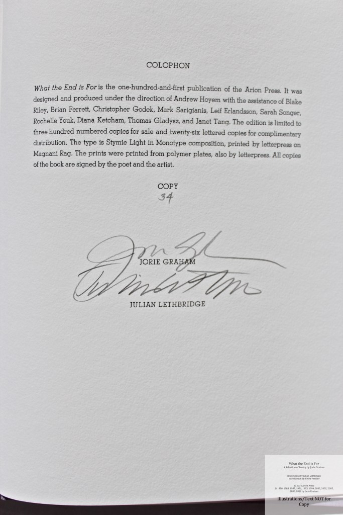 What the End is For, Arion Press, Colophon and Signatures