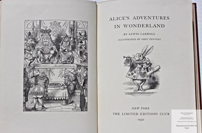 Alice in Wonderland and Through the Looking Glass, Limited Editions Club, Frontispiece and Title Page