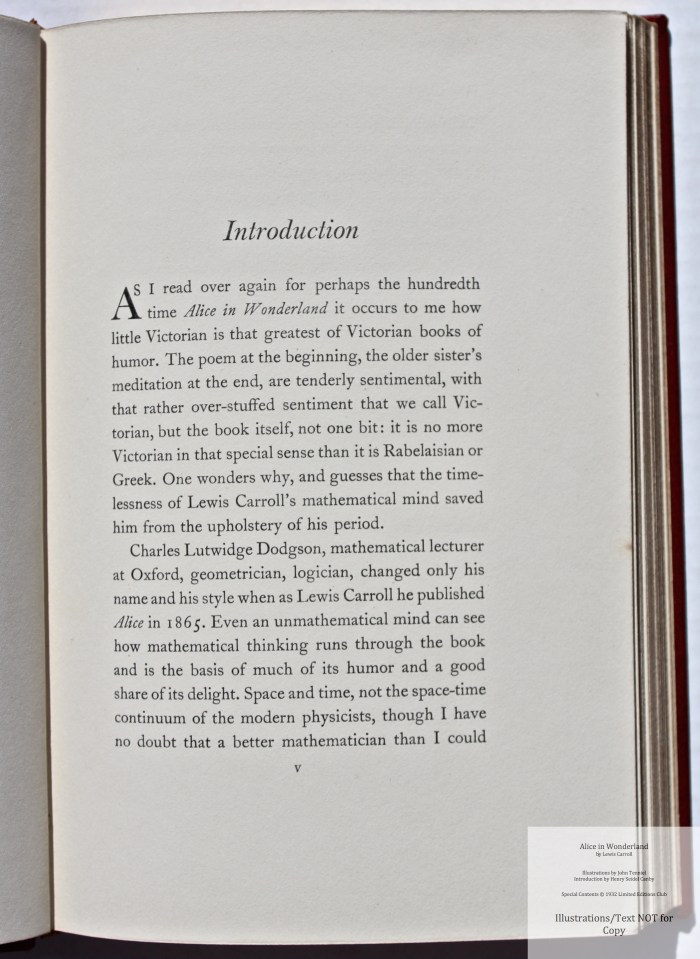 Alice in Wonderland and Through the Looking Glass, Limited Editions Club, Sample Text #1 (Introduction)