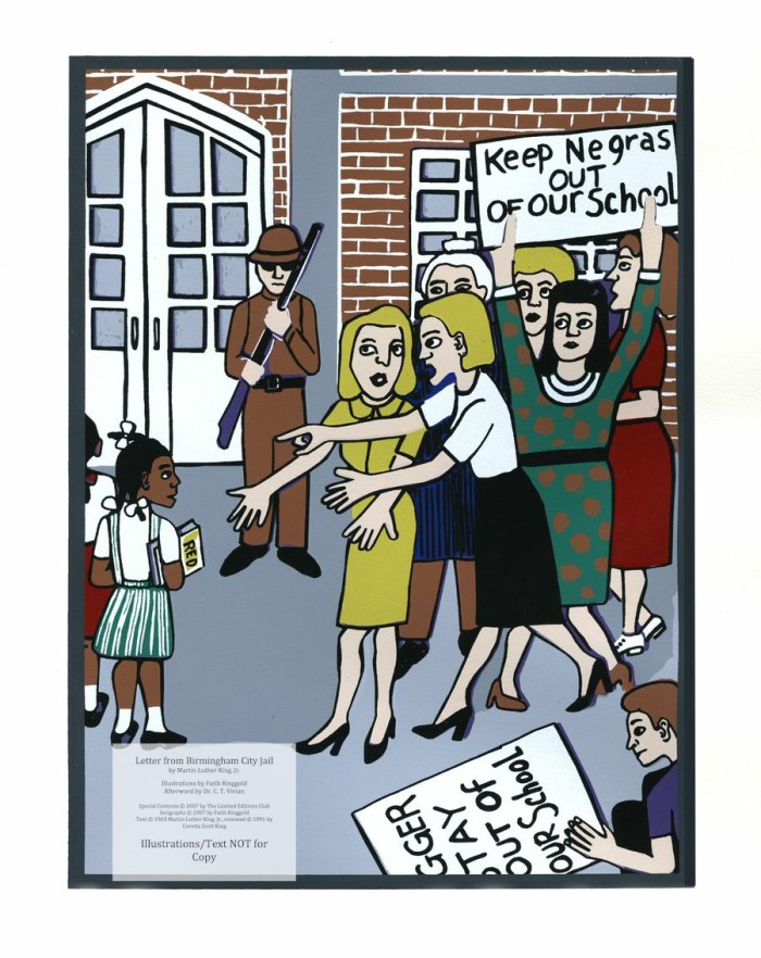 """Letter from Birmingham Jail, Limited Editions Club, Sample Illustration #4 (Brown verses Board of Education 1954 - """"White Mothers...on Television screaming Nigger, Nigger, Nigger!""""  MLK). (c) Faith Ringgold 2007"""