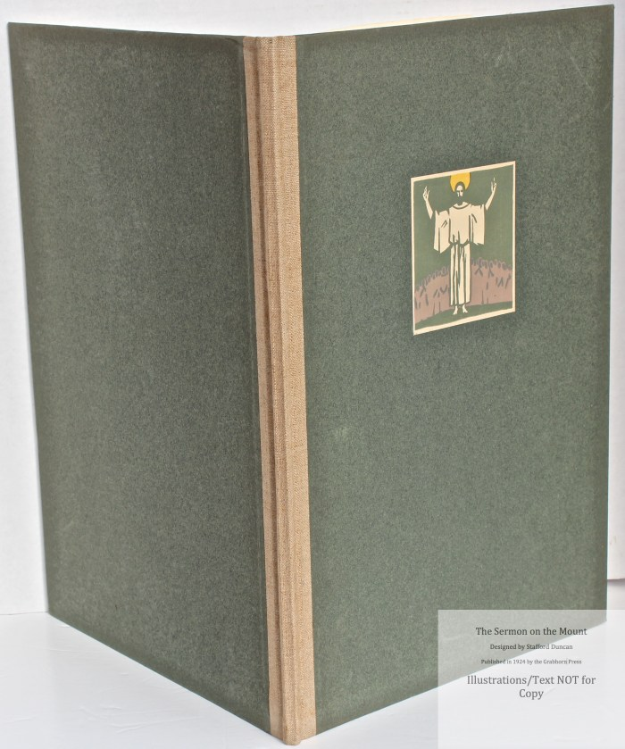 The Sermon on the Mount, Grabhorn Press, Spine and Covers