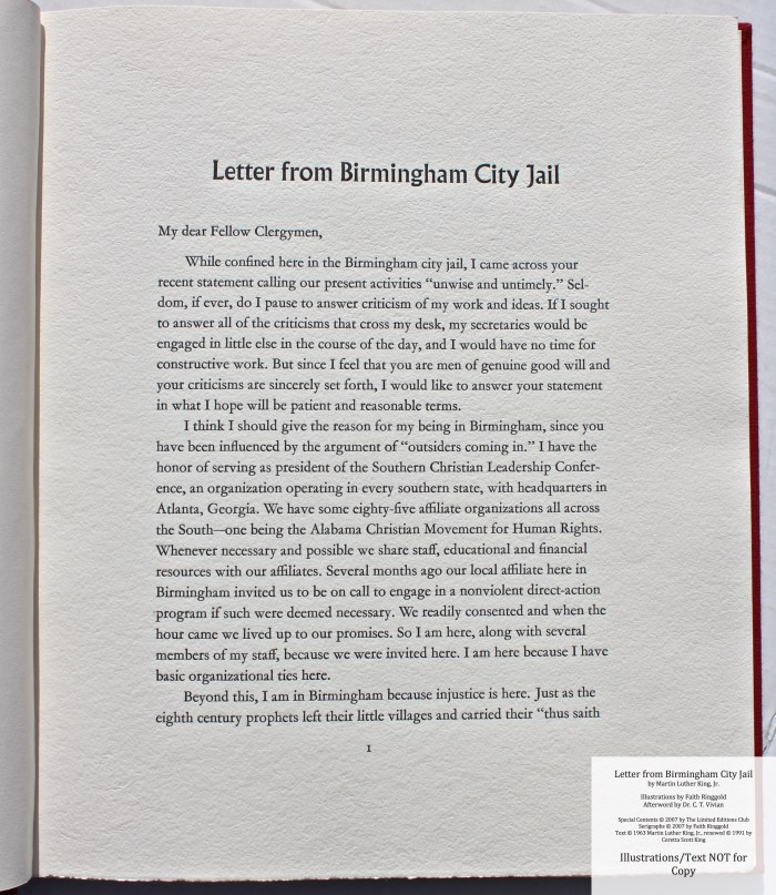 Letter from Birmingham Jail, Limited Editions Club, Sample Text #2 (Beginning of Dr. King's text)