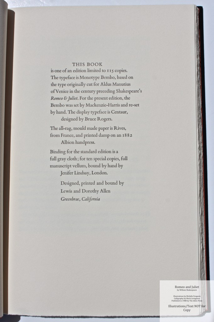 Romeo and Juliet, Allen Press, Colophon
