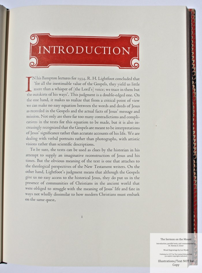 The Sermon on the Mount, Limited Editions Club, Sample Text and Decoration #1 - Introduction
