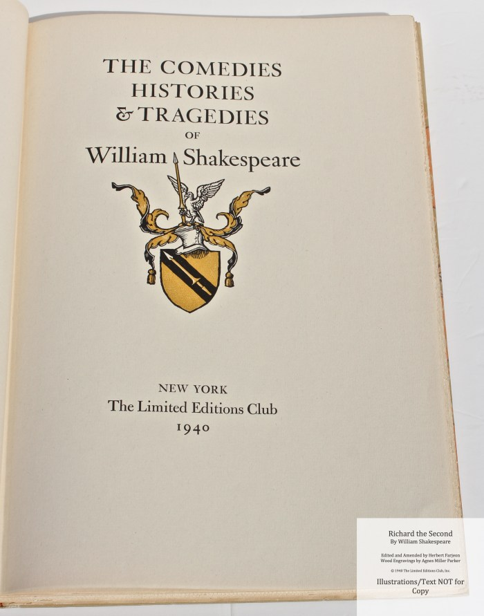 Richard the Second, Limited Editions Club, Series Title Page