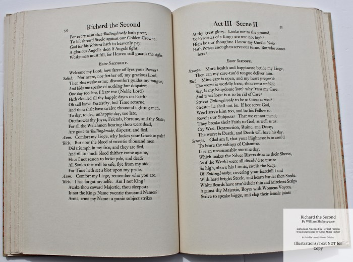 Richard the Second, Limited Editions Club, Sample Text #2
